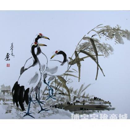 李哲《丹顶鹤》朝鲜国画_朝鲜画_朝鲜艺术_国画花鸟 类别: 朝鲜国画x